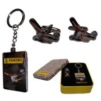 Panini Mens/Boys Silver Tone Football Cufflinks and Key Ring Set